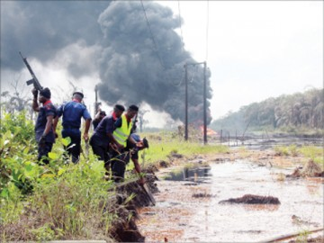 NSCDC OFFICIALS AT THE SCENE OF THE IJE-ODODO PIPELINE EXPLOSION