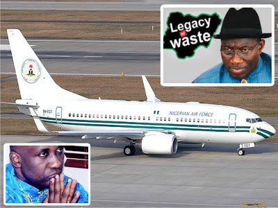 Photo Courtesy Olufamous.com) Primate Ayodele Inset (Bottom Left Corner) One Of The Jets In The Presidential Air Fleet & President Jonathan (Inset Top Left)