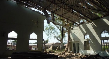 DAMAGED ST. RITA CATHOLIC CHURCH, KADUNA AFTER SUSPECTED ATTACK BY BOKO HARAM ELEMENTS