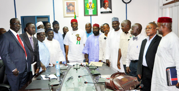 MINISTER OF LABOUR AND PRODUTIVITY, CHIEF EMEKA WOGU (M), WITH REPRESENTATIVES OF PLATEAU GOVERNMENT AND THE NIGERA LABOUR CONGRESS (NLC), DURING A MEETING ON THE SUSPENSION OF PLATEAU WORKERS' STRIKE IN ABUJA ON THURSDAY (20/12/12). Photo Credit: NAN