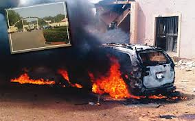 The Explosive Laden Vehicle That Exploded On Nov. 17 At Jaji Cantonement. Inset: AFCSC Entrance