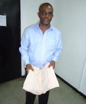 Madueke Chukwuemeka Patrick with his cocaine-laden shorts