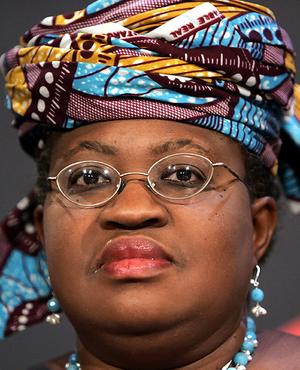 Okonjo-Iweala, managing director of the World Bank, attends a session at the WEF in the Swiss Alpine resort town of Davos