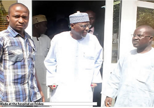 CAPTAIN IDRIS WADA (RTD) OF KOGI STATE EMERGING FROM THE HOSPITAL ON FRIDAY