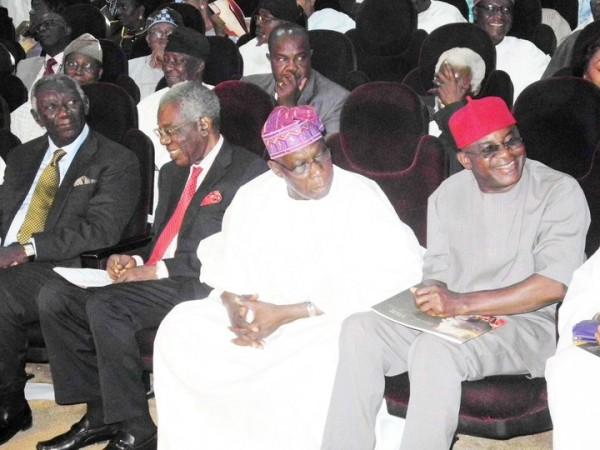 FORMER PRESIDENT OF GHANA, MR JOHN KUFUOR; FORMER HEAD OF INTERIM GOVERNMENT, CHIEF ERNEST SHONEKAN; FORMER PRESIDENT OLUSEGUN OBASANJO AND SENATE PRESIDENT DAVID MARK, AT A CIVIC RECEPTION TO CELEBRATE FORMER PRESIDENT OLUSEGUN OBASANJO IN ABEOKUTA ON FRIDAY (18/1/13).
