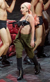 Lady Gaga wearing a gun bra on Friday at a show in Vancouver