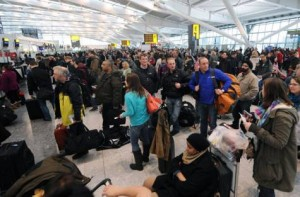 passengers stranded at Heathrow After Snow Delays