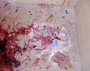 blood spattered floor
