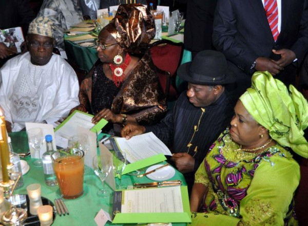PRESIDENT GOODLUCK JONATHAN AND DAME PATIENCE JONATHAN AT THE LAUNCH OF FORMER PRESIDENT OBASANJO'S FOUNDATION IN LONDON