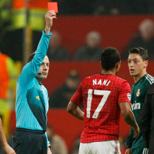 Cuneyt Cakir Awarded a Straight Red Card to Nani During a Champions League Clash at Old Trafford in 2012-13 Season. Image: Getty.
