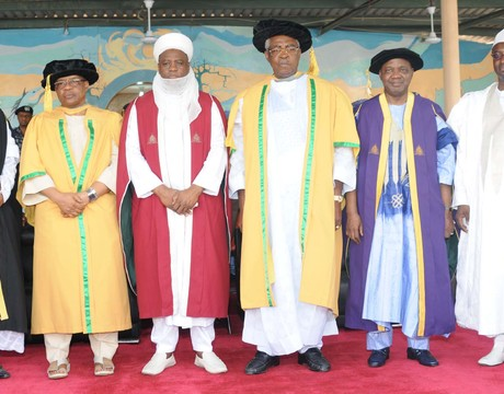 VICE CHANCELLOR, AHMADU BELLO UNIVERSITY (ABU), PROF. ABDULLAHI MUSTAPHA; FORMER MILITARY PRESIDENT, GEN. IBRAHIM BABANGIDA; SULTAN OF SOKOTO, ALHAJI SA'AD ABUBAKAR III; GEN. THEOPHILUS DANJUMA; VICE PRESIDENT NAMADI SAMBO AND GOV. RAMALAN YERO OF KADUNA STATE, DURING A SPECIAL CONVOCATION CEREMONY AND SPECIAL LAUNCHING OF N50B ABU PHASE TWO DEVELOPMENT FUND IN ZARIA ON SATURDAY