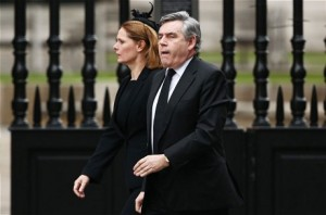 Former Prime Minister Gordon Brown arriving with his wife Sarah (GETTY)