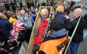 An effigy of former Margaret Thatcher is placed in a 'coffin' as people gather to celebrate her in Goldthorpe (AFP)