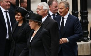 Former Prime Ministers John Major and Tony Blair attend with their wives Norma Major and Cherie Blair (GETTY)