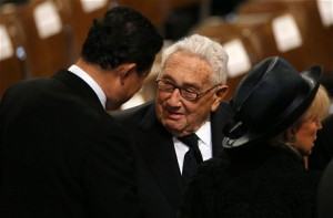 Former US Secretary of State Henry Kissinger attends the funeral of Margaret Thatcher (GETTY)