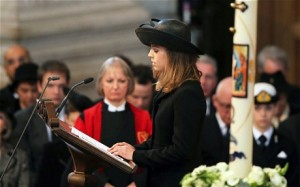 Amanda Thatcher gives the first reading at the funeral (GETTY)