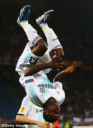 Celebrating his Third Goal of the Europa Cup.