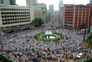Thousands of protesters took the street in Bangladesh on Monday image credit: AFP