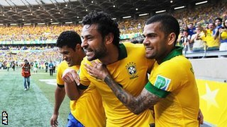 Fred Celebrates With Dani Alves and Hulk.