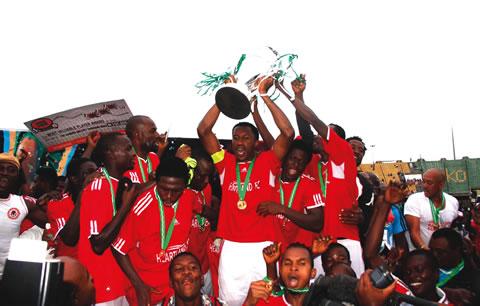 Captain Heartland FC of Owerri Chinedu Efugh celebrating after his team's 2-1 victory over Lobi Stars FC of Makurdi in 2012.
