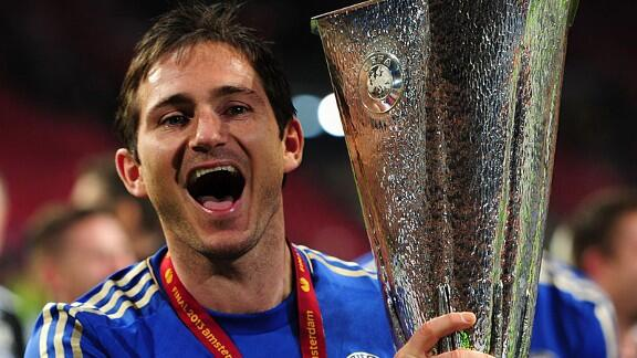 Franck Lampard and the Europa Cup Trophy.