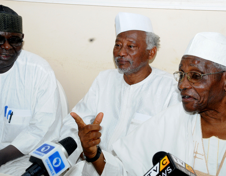 FROM LEFT: LEGAL ADVISER, AREWA CONSULTATIVE FORUM, MR BITRUS GWADAH; FORMER MINISTER OF AGRICULTURE, ALHAJI SANI DAURA AND CHAIRMAN, NORTHERN  ELDERS FORUM, PROF. ANGO ABDULLAHI, ADDRESSING A NEWS CONFERENCE IN KADUNA ON TUESDAY