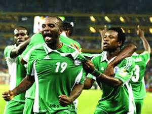Sunday Mba Celebrates Scoring Against Cote d'Ivoire at the Afcon 2013.