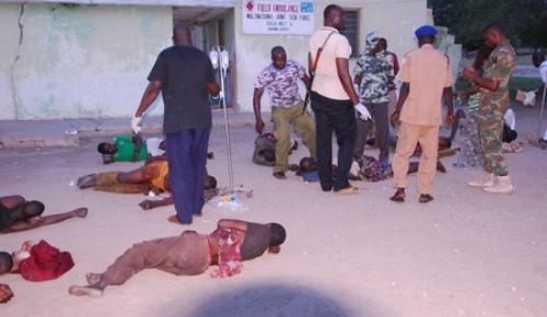 MEDICAL PERSONNEL OF THE MULTINATIONAL JOINT TASK FORCE (MNJTF) TREATING CIVILIANS INJURED BY BOKO HARAM IN DAWASHI VILLAGE, KUKAWA LGA OF BORNO STATE