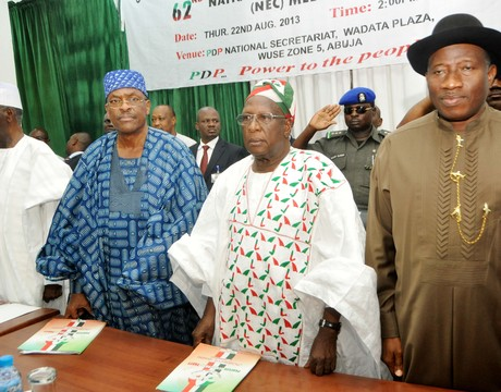 CHAIRMAN, BOARD OF TRUSTEES, PEOPLES DEMOCRATIC PARTY (PDP), CHIEF TONY ANENIH; ACTING NATIONAL SECRETARY, DR REMI AKINTOYE; THE NATIONAL CHAIRMAN, DR BAMANGA TUKUR AND PRESIDENT GOODLUCK JONATHAN, AT NATIONAL EXECUTIVE COUNCIL MEETING OF THE PARTY IN ABUJA ON THURSDAY