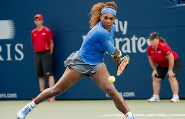 Serena Williams Returns a Shot During Her Match Against Fransesca Shciavoni.