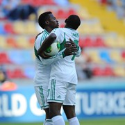 Aminu Celebrates With Kayode Olarenwaju After Scoring at the U20 World Cup.