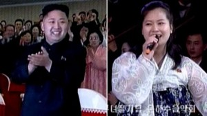 North Korean Leader Kim Jong-un and, right, Hyun Song-wol sings during a concert in Pyongyang