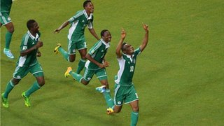 John Obi Mikel After Scoring Against Uruguay at the Confederations Cup.