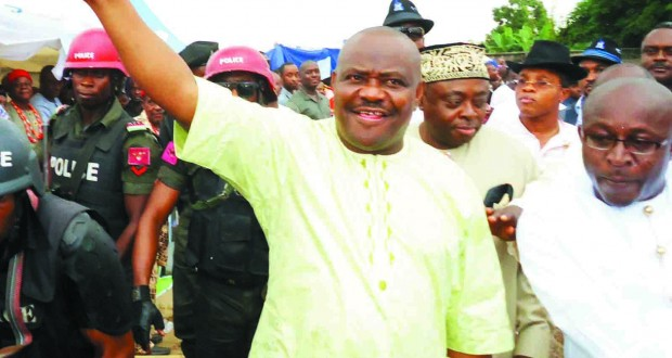 NYESOME WIKE AND SOME CHIEFTAINS OF THE PDP AT ONE OF THE RALLIES OF THE GDI IN PORT HARCOURT