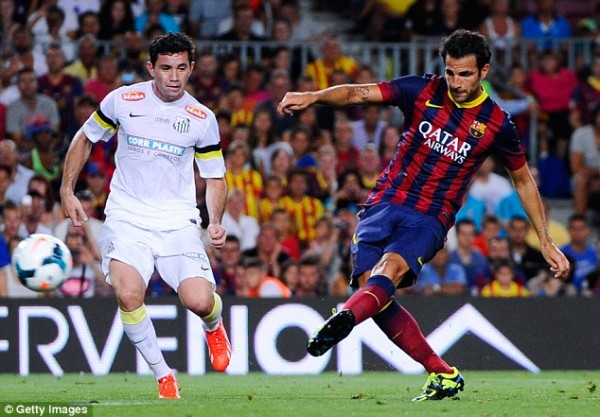 Fabregas Scored a Brace Against Santos at the Camp Nou on Friday.