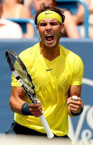 Nadal Celebrates Winning John Isner in Ohio.