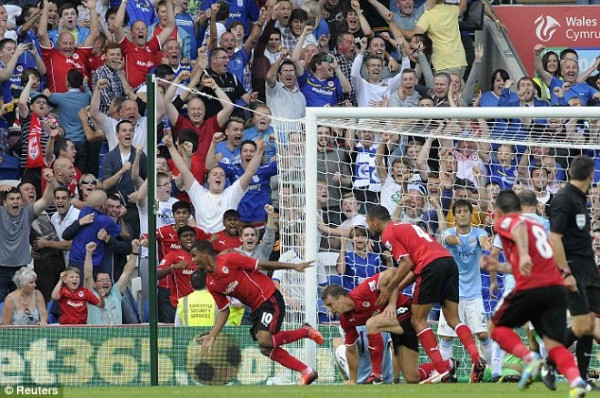 Campbell Celebrates After Scoring For Cardiff City.