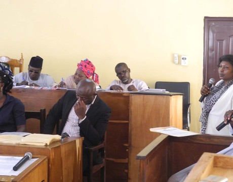 SEN. SOLOMON EWUGA (R), TESTIFYING IN LAFIA ON TUESDAY (24/9/13), BEFORE THE JUDICIAL COMMISSION OF INQUIRY OVER THE KILLING OF SECURITY OPERATIVES AT ALAKYO VILLAGE.