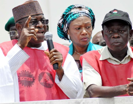 SENATE PRESIDENT DAVID MARK (L), ADDRESSING NIGERIA LABOUR CONGRESS AND THE TRADE UNION CONGRESS DURING THEIR PROTEST  OVER THE REMOVAL OF MINIMUM WAGE FROM EXCLUSIVE LEGISLATIVE LIST AT THE NATIONAL ASSEMBLY IN ABUJA (18/9/13). WITH HIM ARE GOV. ADAM OSHIOMHOLE OF EDO (R) AND SEN. OLUREMI TINUBU