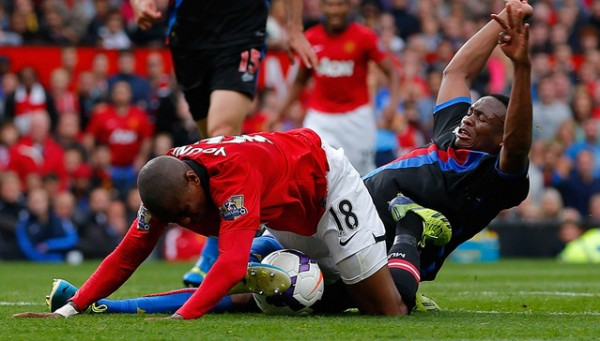 Ashley Young Simulated a Bizarre Fall at Old Trafford on Saturday and Got a Yellow Card.