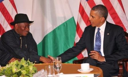PRESIDENT GOODLUCK JONATHAN IN HANDSHAKE WITH PRESIDENT BARACK OBAMA ON MONDAY IN NEW YORK