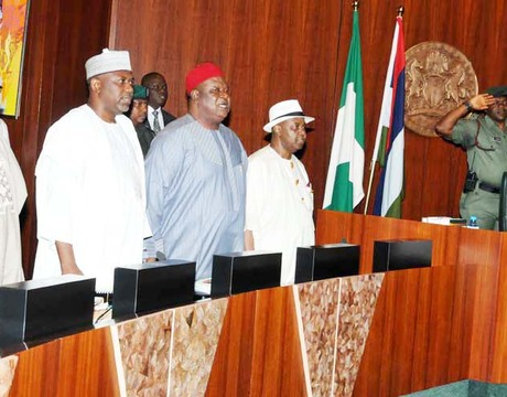 CHIEF OF STAFF TO PRESIDENT GOODLUCK JONATHAN, CHIEF MIKE OGHIADOMHE; HEAD OF THE CIVIL SERVICE OF THE FEDERATION, ALHAJI GONI AJI; SECRETARY TO THE GOVERNMENT OF THE FEDERATION, SEN. ANYIM PIUS ANYIM; VICE-PRESIDENT NAMADI SAMBO AND PRESIDENT GOODLUCK JONATHAN, AT THE FEDERAL EXECUTIVE COUNCIL MEETING IN ABUJA ON WEDNESDAY (2/10/13).