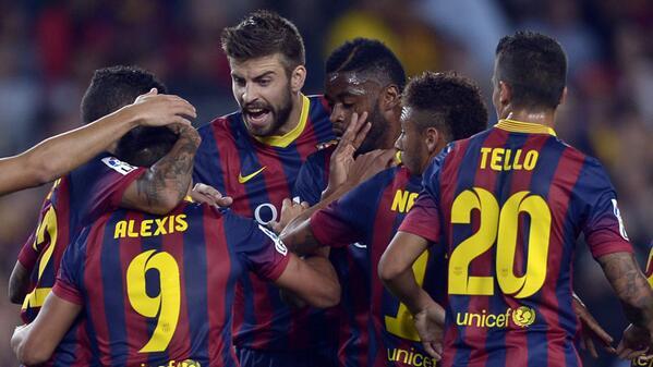 Barca Celebrates Sanchez's Goal On Saturday.