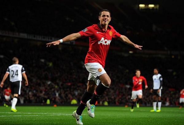 Javier Hernandez Celebrates His Second Goal Against Norwich in the Capital One Cup.