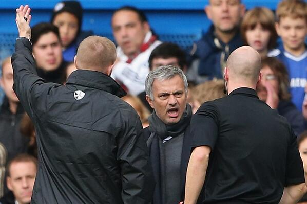 Referee Anthony Taylor Ordering Mourinho Out of the Dugout.