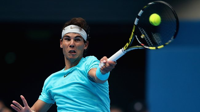 Rafael Nadal Returns a Serve During His Semi-Final Clash With Tomas Berdych in Beijing.