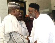 GOV. SULE LAMIDO OF JIGAWA (L), WELCOMING HIS ADAMAWA COUNTERPART, GOV. MURTALA NYAKO, DURING THE VISIT OF THE LATER TO DUTSE ON THURSDAY