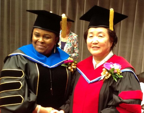 FIRST LADY BAGS HONOURARY DOCTORATE DEGREE IN SEOUL. DAME PATIENCE JONATHAN (L), WITH THE PRESIDENT, HANSEI UNIVERSITY, PROF. SUNG-HAE KIM, ON THURSDAY