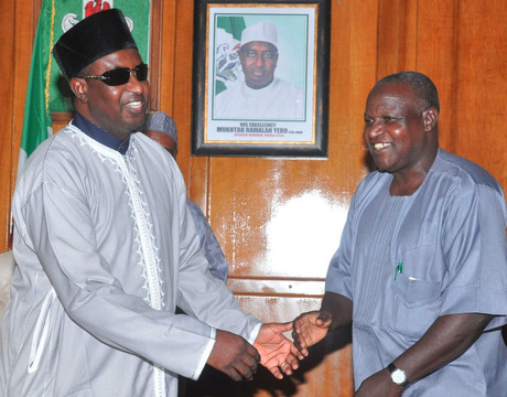 GOV. MUKHTAR YERO OF KADUNA   (L), WITH NLC PRESIDENT, COMRADE ABDULWAHED OMAR,  DURING HIS COURTESY VISIT  IN KADUNA ON WEDNESDAY (PHOTO CREDIT:NAN)