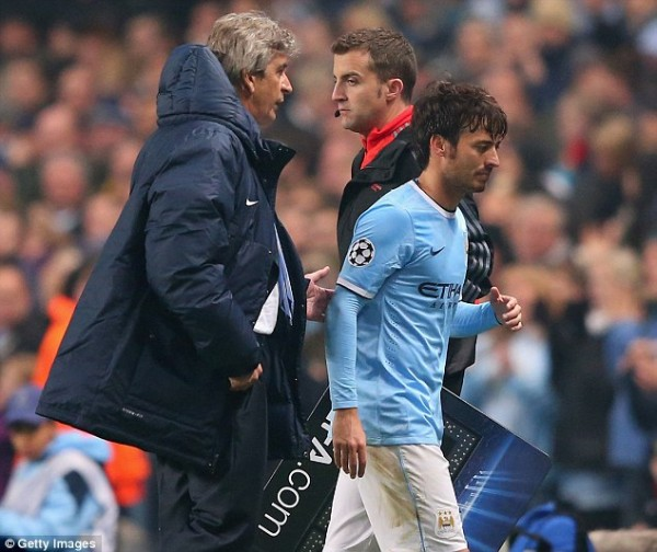 Getty Image: David Silva to Miss Out of Action for Four Weeks.